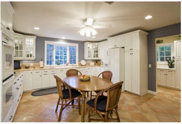 Modern Kitchen With Ceiling Fan